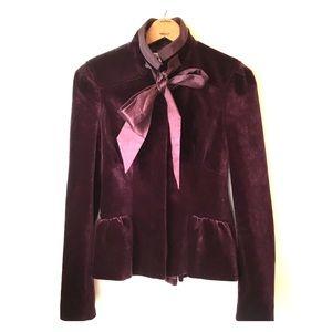 Diane Von Furstenberg Velvet Bow Tie Blazer